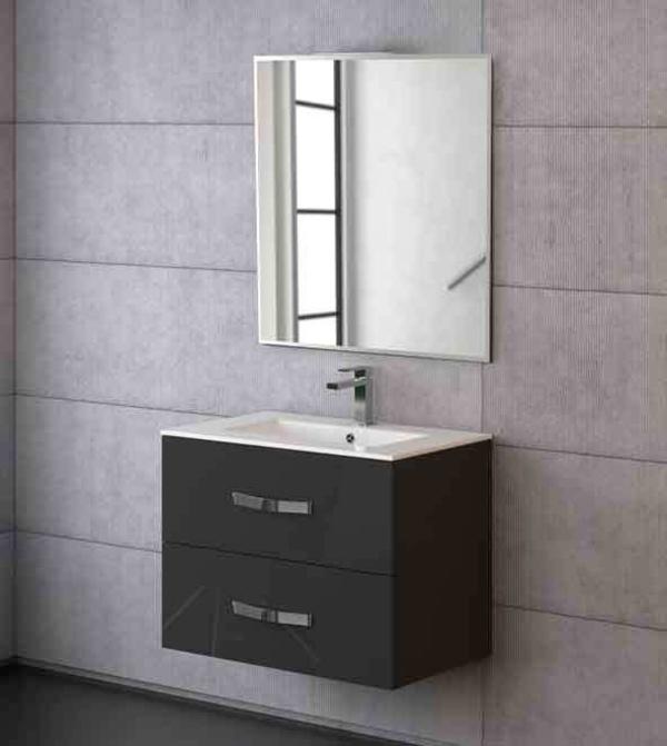 Mueble Deva de 70  gris pulido con lavabo extrafino, espejo Corfú y foco X