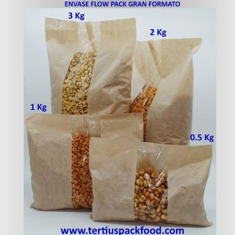 Envasados con bolsa conformada desde bobina papel exterior grandes tamaños: NUESTROS  ENVASADOS de Envasados de Alimentos Bio y Gourmet, S.L