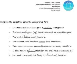 Ejercicio de Inglés - Forma comparativa del adjetivo