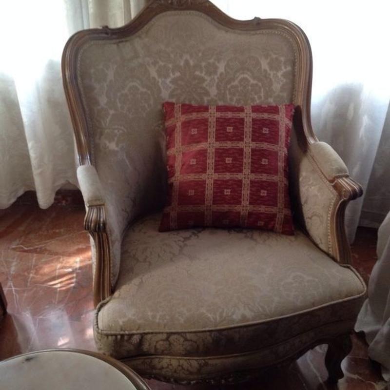 Restauración: Butaca estilo Luis XV restaurada y retapizada:  de Ste Odile Decoración