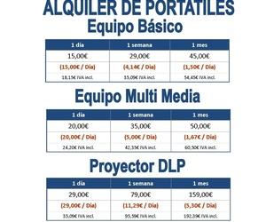 Precios de alquiler portátiles y proyectores
