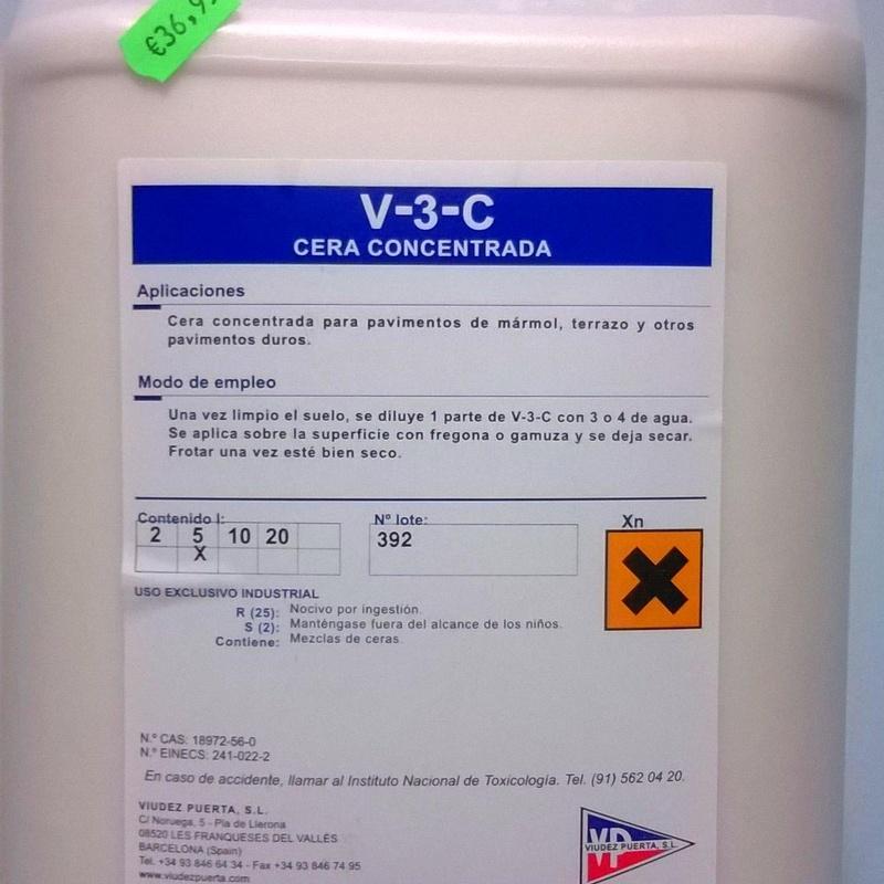 Cera Concentrada V-3-C 5L.: SERVICIOS  Y PRODUCTOS de Neteges Louzado, S.L.