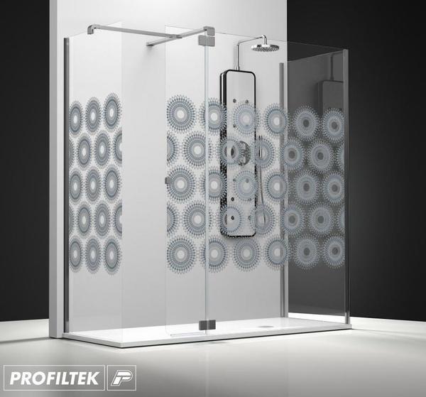 Mampara de baño Profiltek walk-in serie Belus modelo BS-241 decoración Clasik