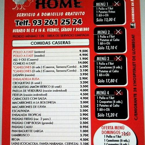 Pollo asado en Cornellá de Llobregat - Pollo Home