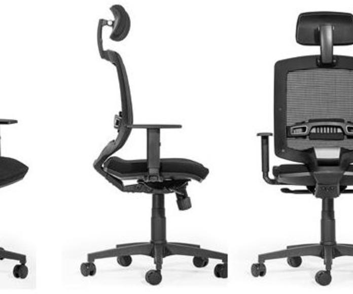 sillón ergonómico con cabezal y brazos regulables.Mod. Q-3