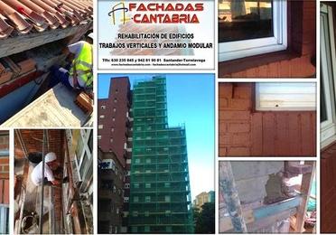 Tratamientos con andamios y revestimiento de edificios en Cantabria.