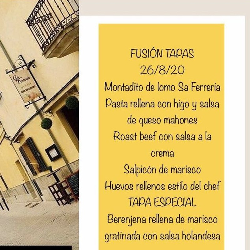 PLATO DEL DIA A ELEGIR 7-11-20: Carta de Celler Sa Ferrería