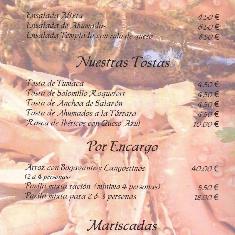 Primeros, ensaladas, tostas, por encargo y mariscadas: Carta de Restaurante Marisquería El Emperador