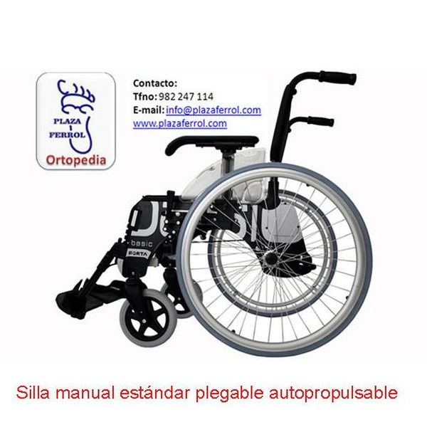 Silla manual estándar plegable autopropulsable