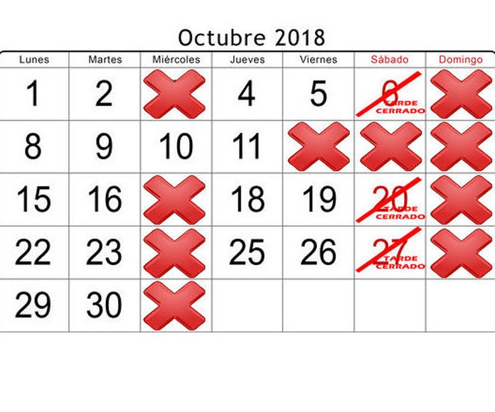 Octubre (Jueves 11 cerrado por la tarde)