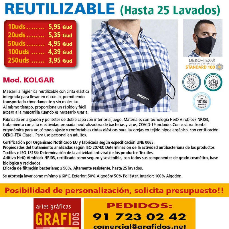 Mascarilla KOLGAR 25 Lavados