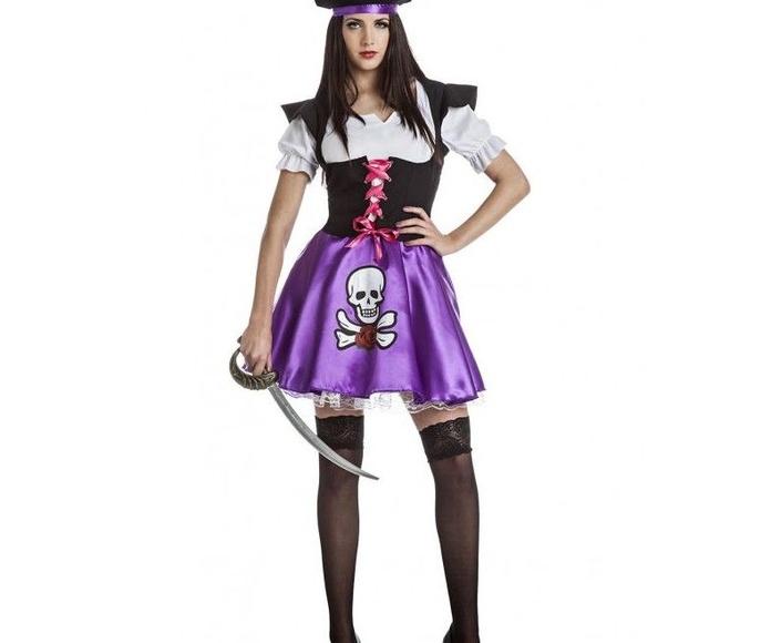 Disfraz pirata mujer morado