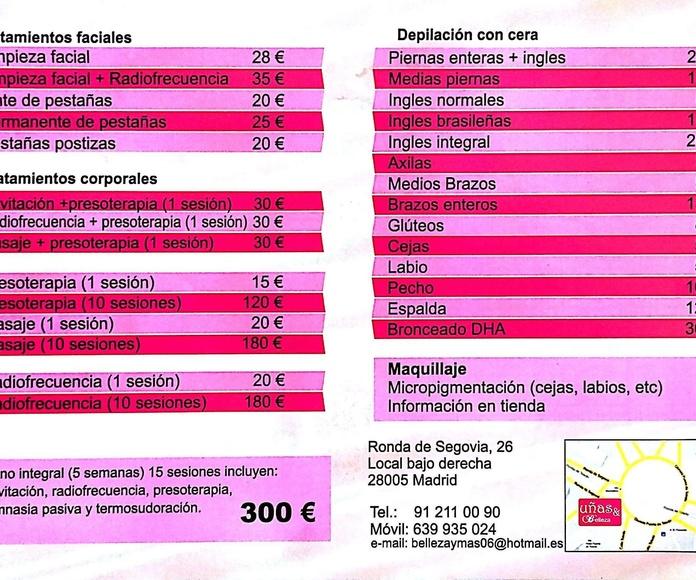 Servicios y tarifas Uñas y Belleza