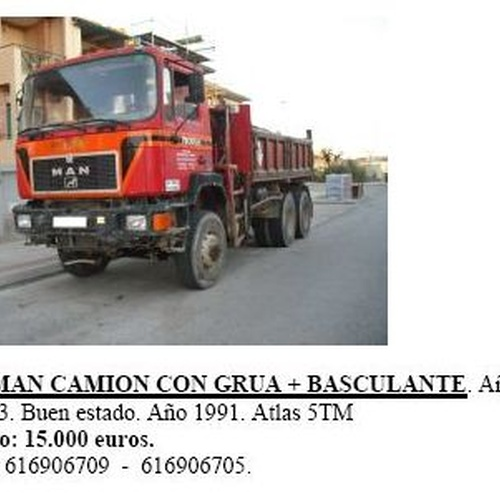 6x6 Man Camión con grúa + basculante año 1991