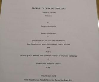 Para empezar: Carta y menús de Asador Miralles