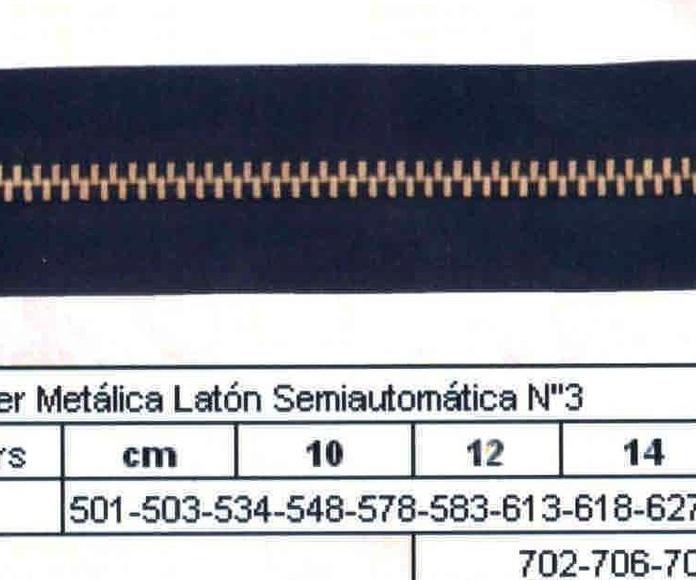 Cremallera SNS Poliester Metálica Latón Semiautomática num. 3