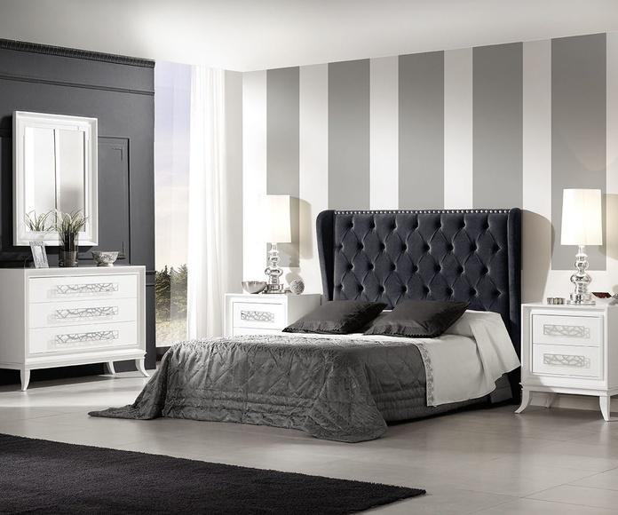 Dormitorio mod 81 Helios  blanco y cabezal tapizado