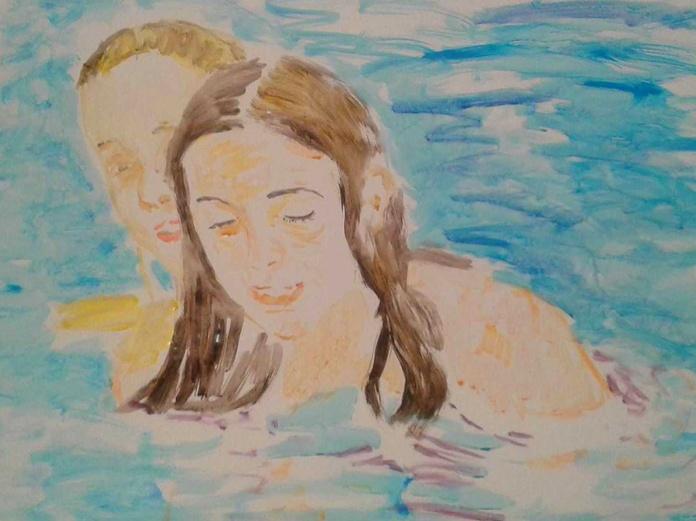 En la piscina. acrilico/papel. 70x100cm. 300€.