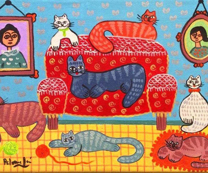 El sofa de los gatos. acrilico/tela. 30x20cm. 325€.