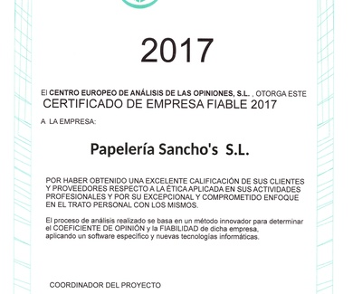 Certificado de empresa fiable 2017