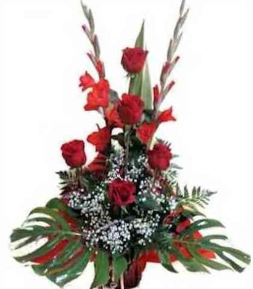 Centro rosas y gladiolo : Catálogo de Regalos de Floresdalia.com