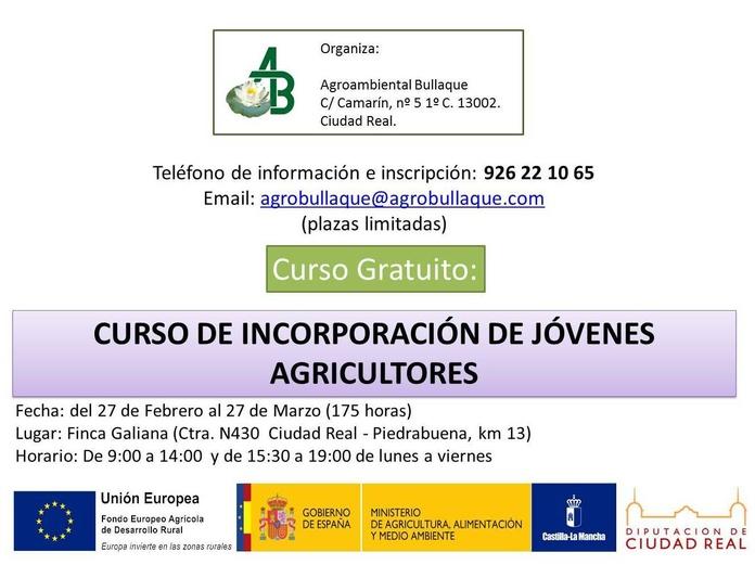 Curso gratuito Incorporación de Jóvenes Agricultores
