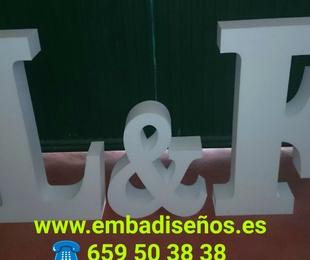 Pack Iniciales Boda de Poliespán o Corcho Barato de Alta Densidad 20 Kg/m3 por 55,00 €