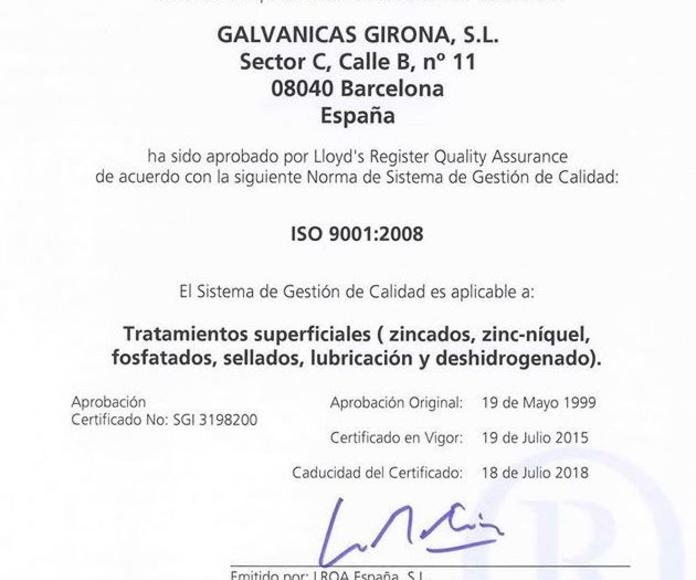 Certificado aprobación