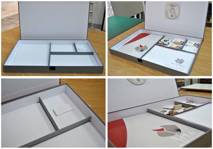 Caja realizada para la presentación del trabajo de fin de carrera de Miguel Casado; sobresaliente diseñador gráfico que presentó una magnífica imagen corporativa.