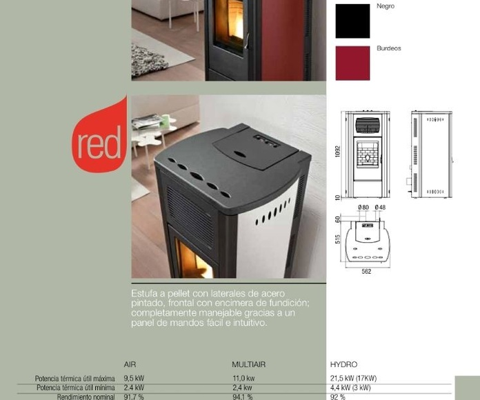 Estufa pellet Red Modelo Primula 9,5 kW: Catálogo de Chimeneas Ferrol