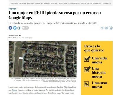 Por un error de Google Maps derriban su casa (afortunadamente esto no pasa en Madrid)