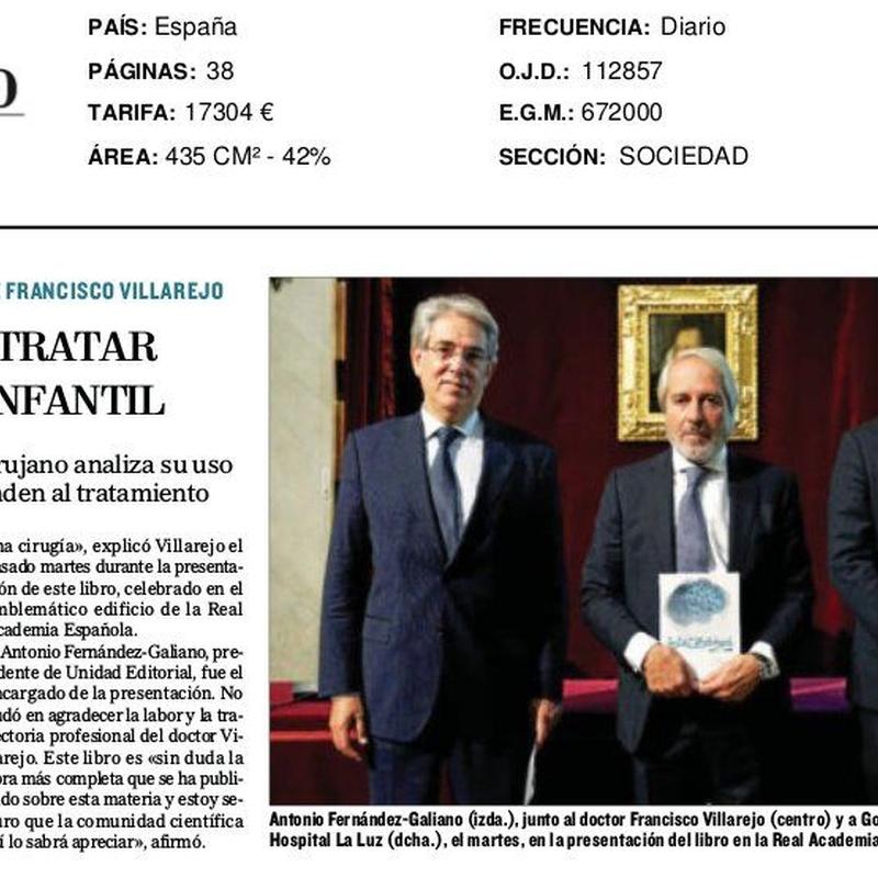Artículo en el periódico El Mundo: Especialidades y publicaciones de Doctor Villarejo