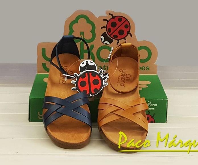 Sandalias cruzadas piel Yokono