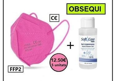 Paquet 5 unitats de mascaretes FFP2 color rosa + gel hidroalcohòlic 100 ml