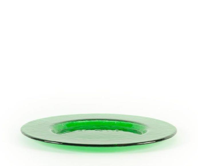 Plato de presentación verde: Alquiler de Mantelería & Menaje
