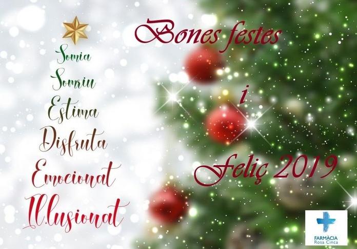 La Farmàcia Rosa Cinca us desitja bones festes i feliç 2019!!