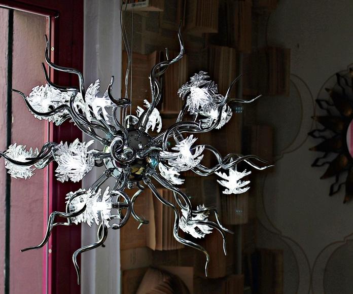 Lámpara de cromo y cristal de MURANO: Artículos  de Ruzafa Vintage