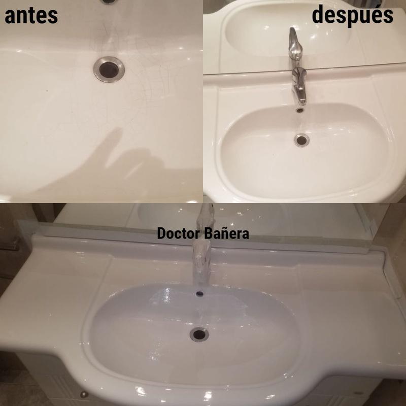 lavamanos agrietado. Reparación y esmaltado