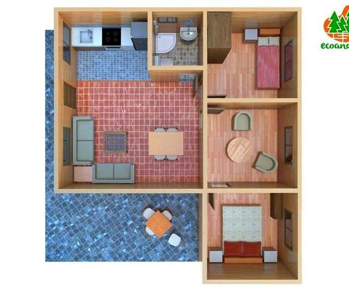 Distribución casa de madera Guadalajara