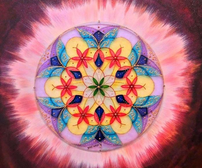 Mandala. Mujer arabe. 50x50cm. tintas/cristal. 175€+IVA