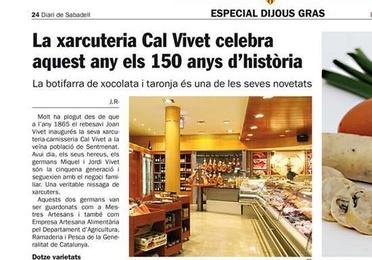 Aquest Any Carnesseria Xarcutería Cal Vivet celebra su 150 Aniversari