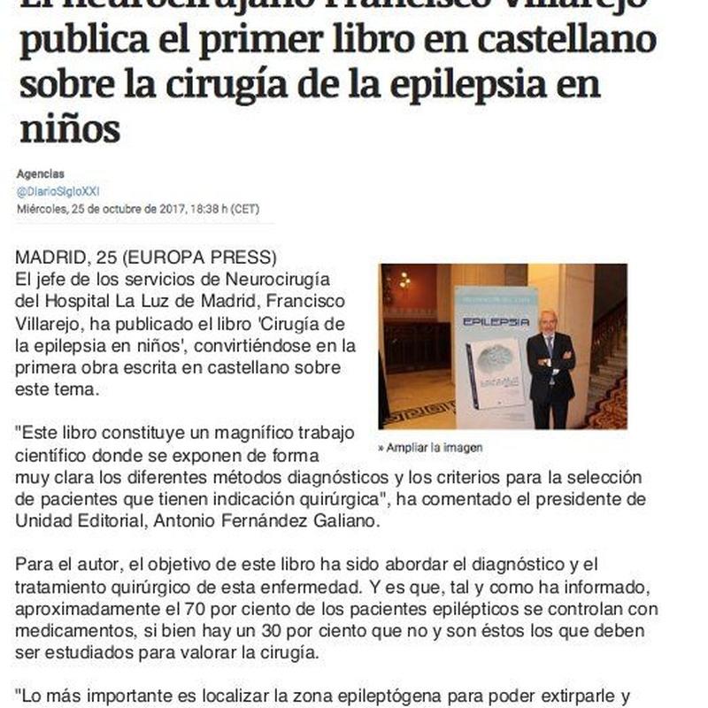 Artículo en periódico Siglo XXI: Especialidades y publicaciones de Doctor Villarejo