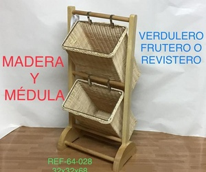 64-028 REVISTERO PIE MAD 2 CAJ MEDULA32X32X68