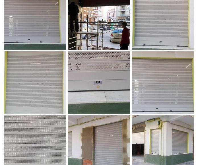 PUERTAS ENROLLABLES DE ALUMINIO LAMA CIEGA Y MICROPERFORADA OVALADA RAL 9006 GRIS