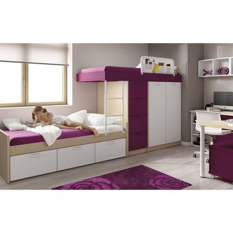 Muebles tipo tren para niñas/chicas. Mezcle color violeta con blanco y dele