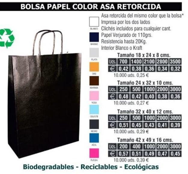 BOLSA DE PAPEL ASA RETORCIDA 42X49CMS COLORES: TIENDA ON LINE de Seriprint Serigrafia