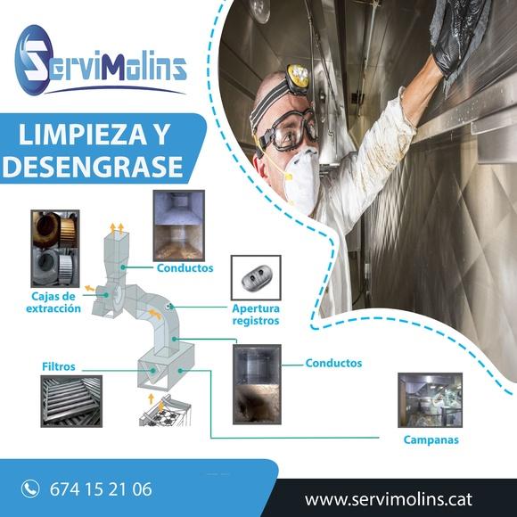 Limpieza y desengrase del sistema de extracción: Servicios de Servimolins