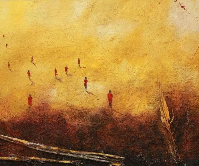 Walking Kenya. Técnica mixta sobre lienzo 120 X 180 cm.