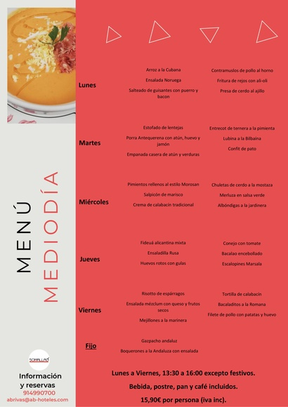 Restaurante Somallao Rivas Menú Mediodía 30 Agosto al 3 de Septiembre de 2021