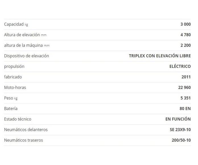 CARRETILLA ELEVADORA LINDE E30L: CATÁLOGO de HP Elevación